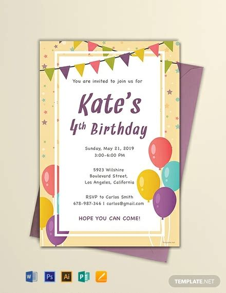 email birthday invitation template word psd