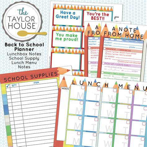 back to school organization free printables the taylor house