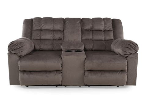 Reclining Rustic Farmhouse Loveseat With Console