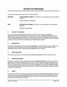 option to purchase real estate property template With land sale proposal sample letter