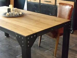 Table à Manger Industrielle Acier Et Bois : table industrielle meuble de style industriel bois et acier sur mesure micheli design ~ Teatrodelosmanantiales.com Idées de Décoration