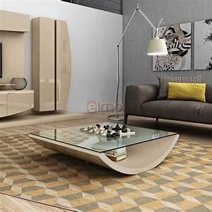 Table Basse Moderne : table basse design moderne laque brillante plateau verre elisa ~ Melissatoandfro.com Idées de Décoration