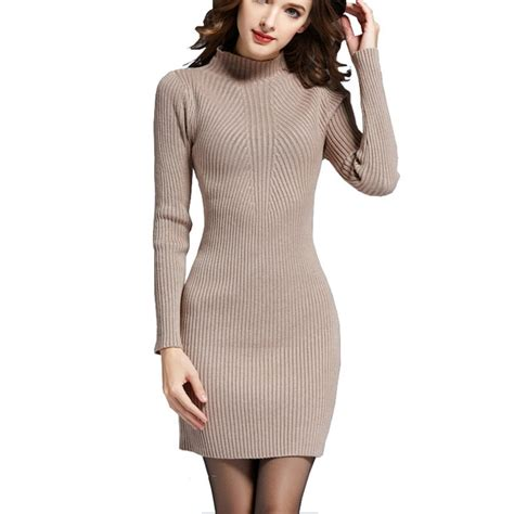 Fashion Sweater Dresses For Women Autumn Winter Warm Long