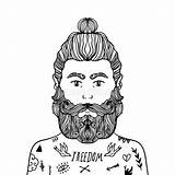 Beard Coloring Sketch Handsome Hipster Doodle Stylish Portrait Casual Element Illustrazione Modieuze Kleurend Baard Portret Knappe Toevallige Schetskrabbel Bassa Barba sketch template