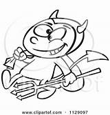 Pitchfork Devil Sack Clipart Boy Carrying Cartoon Vector Outlined Toonaday Royalty Template Coloring sketch template