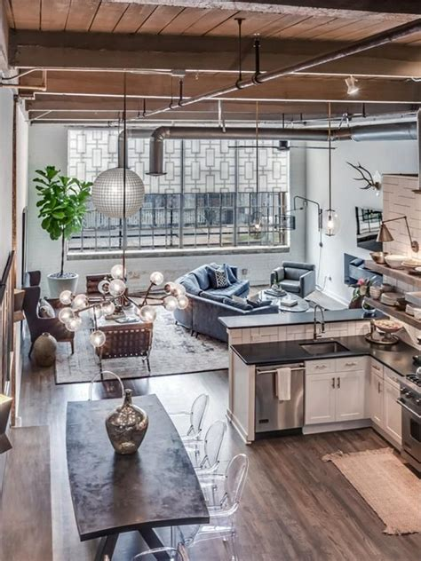 industrial style modern edgy open concept kitchen living room open concept living room