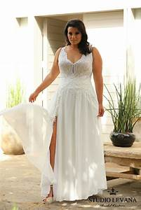 romantic flowy plus size wedding gown with a sexy slit and With plus size flowy wedding dresses