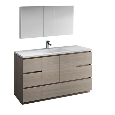 Freestanding Medicine Cabinet by 60 Quot Gray Wood Free Standing Single Sink Bathroom Vanity W