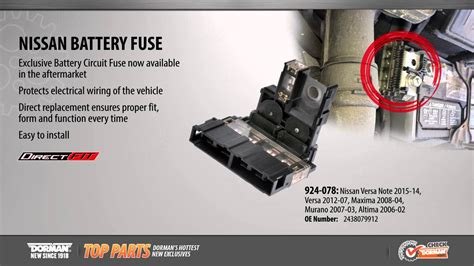 Highlighted Part Battery Fuse For Select Nissan