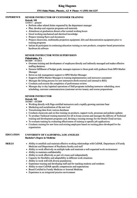 senior instructor resume samples velvet jobs