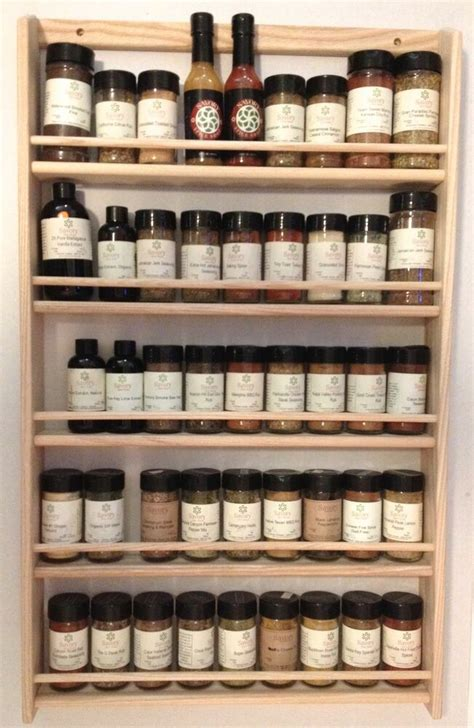 Timber Spice Rack by Solid Oak 5 Shelf Wood Spice Rack 32 75 Quot H X 20 Quot W Wall