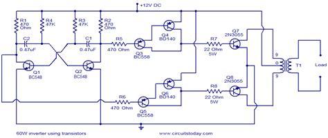 60w inverter using transistors circuit diagram world