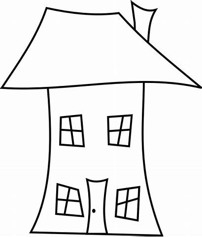 Line Clipart Drawing Crooked Houses Clip Hut