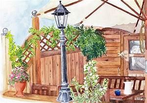 Laterne Garten Groß : bild sommer garten laterne aquarellmalerei von renate prause bei kunstnet ~ Whattoseeinmadrid.com Haus und Dekorationen