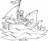 Fishing Coloring Boat Boy Smiling Boats Kidsplaycolor Fish sketch template