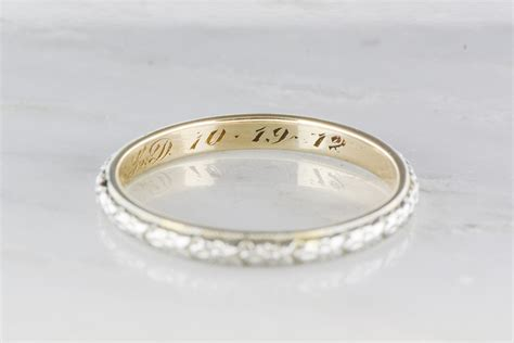 two tone men s victorian 14k gold wedding band engraved quot 10 1 pebble and polish