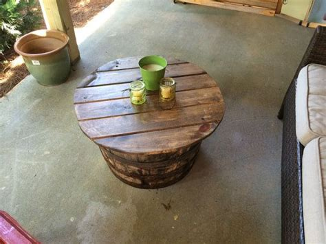 whiskey barrel outdoor coffee table