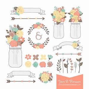 rustic flower mason jar digital clipart graphics for With mason jar clip art for wedding invitations