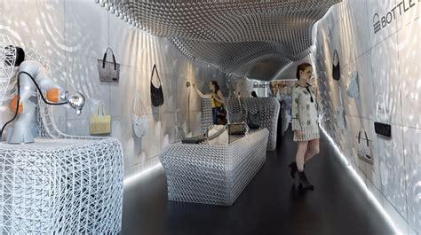 green retail design robots  print eco store interior