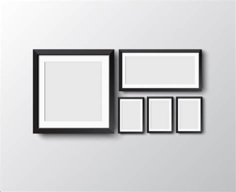 Photo Frames On Wall Black Photo Frame On Wall Vector Graphic 07 Vector