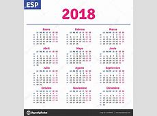 Español calendario 2018 — Vector de stock #147098405