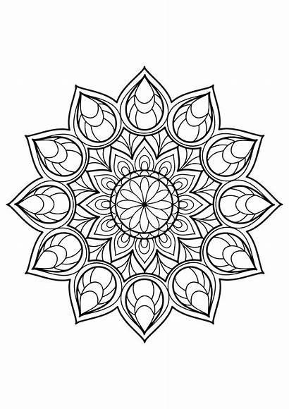 Coloring Mandalas Simple Pages Educational