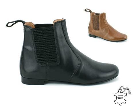 Womens Ladies Black Real Leather Flat Heel Chelsea