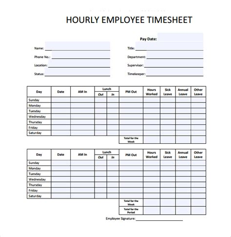 18+ Hourly Timesheet Templates  Free Sample, Example