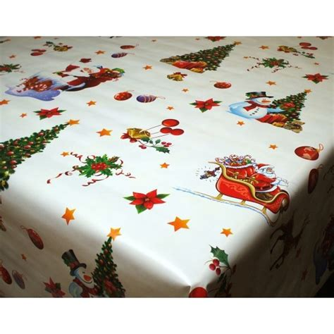 xmas santa sleigh white christmas vinyl oilcloth tablecloth wipe clean tablecloths table