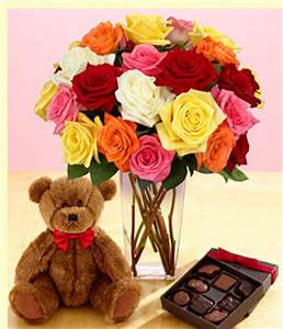 Full valentine gift set with colorful roses and teddy bear ...
