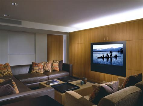 Modern Media Room With Hidden Technology Contemporary