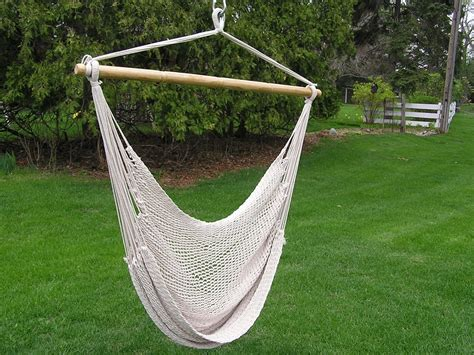 deluxe large white rope cotton hammock swing chair