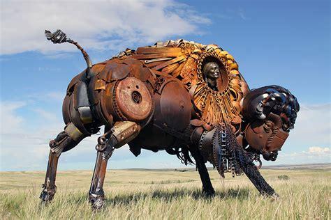 scrap metal sculptures    farm equipment  john