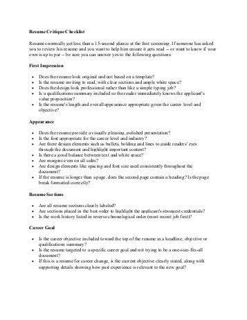 Resume Critique by Article Critique Checklist