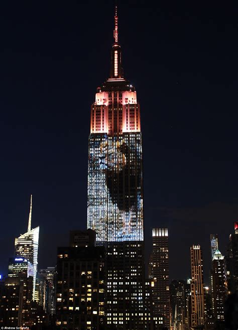 Cecil The Lion Projected On To Empire State Building In