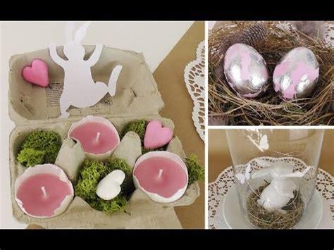 diy osterdeko mit schlagmetall eiern und teelichtern