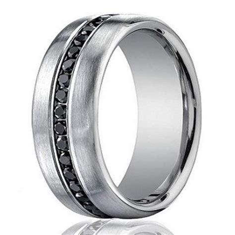 designer  white gold mens eternity band black diamond