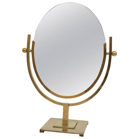 Double-Sided Oval Brass Vanity Mirror at 1stdibs