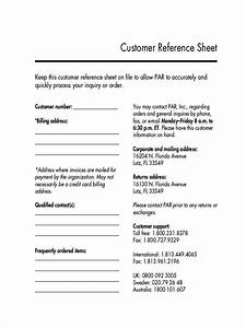 Customer Reference Sheet