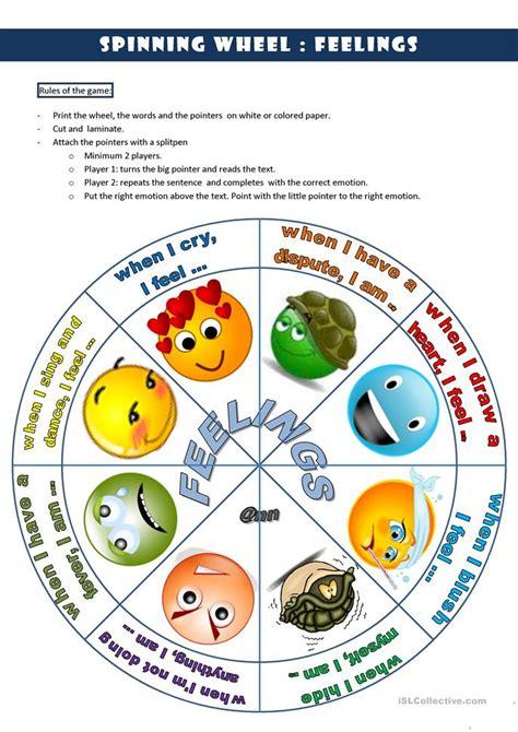 spinning wheel feelings  worksheet  esl printable