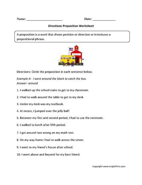 parts speech worksheets preposition worksheets