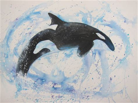 bigger splash orca watercolour  inks