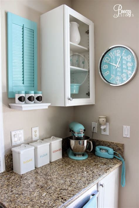 teal blue kitchen accessories chic coastal cottage home tour with breezy design 6019
