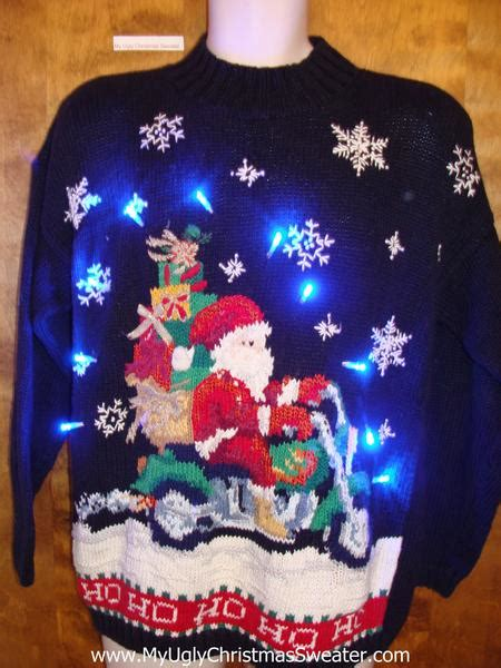 motorcycle santa ugly christmas sweater  lights
