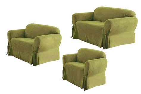 Sofa And Loveseat Slipcovers Sets by Solid Suede Covers 3 Color Slipcover Set
