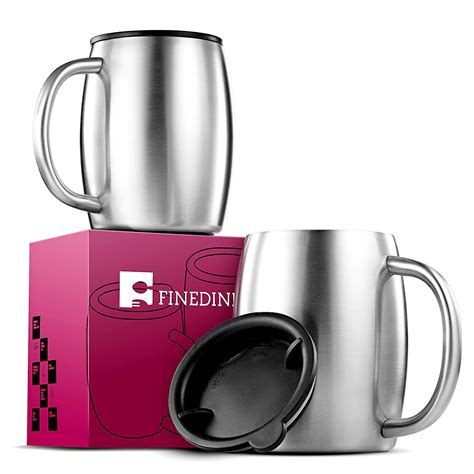 These hot coffee cups come with sleeves so your fingers will always be protected! Premium Grade Stainless Steel Coffee Mugs with Lids (Set of 2) Double Walled Insulated - Beer ...