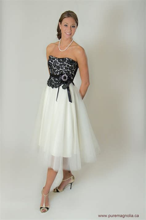 tea length wedding dress lace  tulle strapless