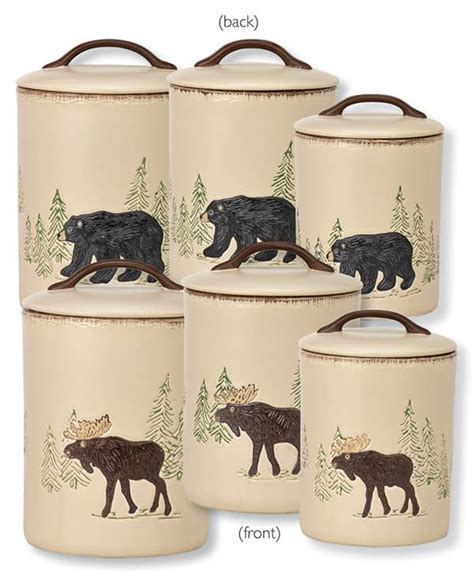 pottery kitchen canister sets rustic retreat moose canister set