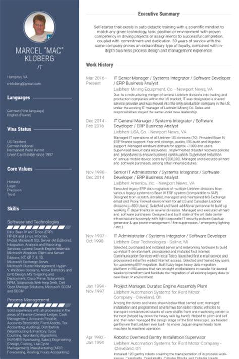 Erp Resume Format by Analyste D Affaires Exemple De Cv Base De Donn 233 Es Des Cv De Visualcv