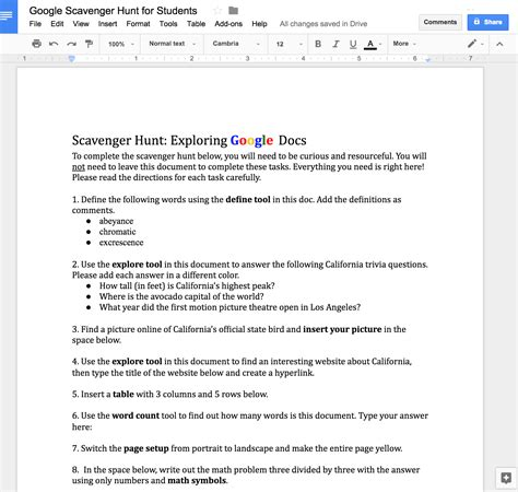 scavenger hunt google docs students doc document middle technology year fun internet lesson plans into copy gmail lessons catlintucker feedproxy